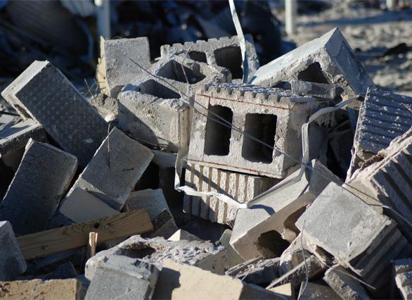 construction bricks left after building demolition